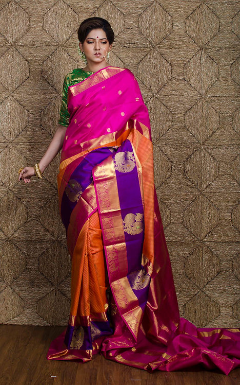 Premium Quality Exclusive Kanjivaram Silk Saree in Orange, Pink and Purple
