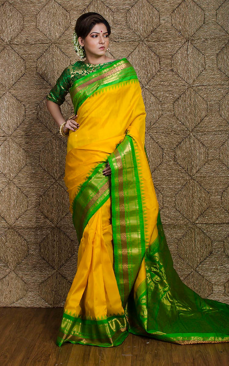 Gadwal Silk Saree in Yellow and Green