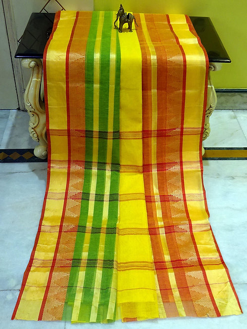 Bengal Handloom Cotton Saree with Starch in Yellow, Red and Green