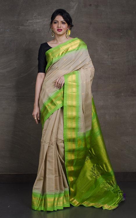 Pure Cotton Silk Gadwal Saree in Clayish Beige and Fluorescent Green
