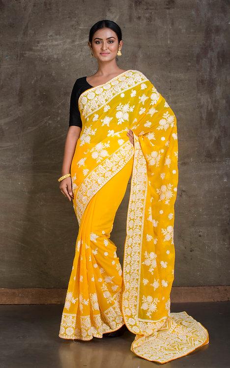 Designer Chiffon Chikankari Saree in Bright Yellow and White