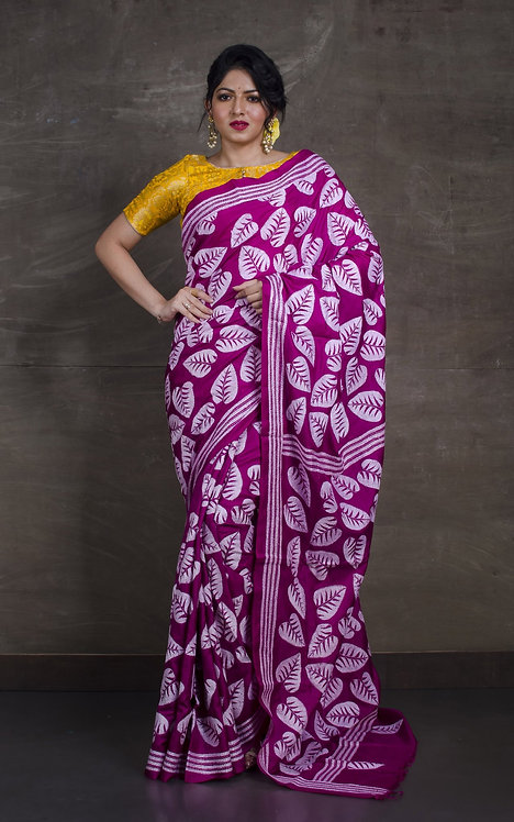 Hand Embroidery Kantha Stitch Saree on Pure Silk in Magenta and White