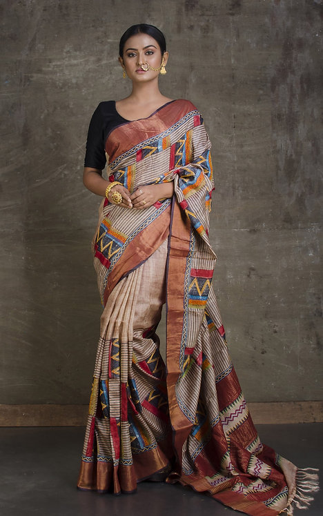 Designer Tussar Silk Saree with Kantha Embroidery in Beige and Black