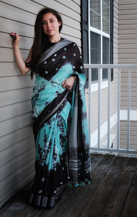 Shibori Soft Cotton Saree Blue and Brown