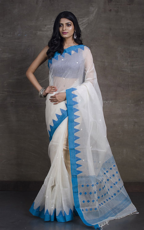Muslin Kota Checks Jamdani Saree in Off White and Blue