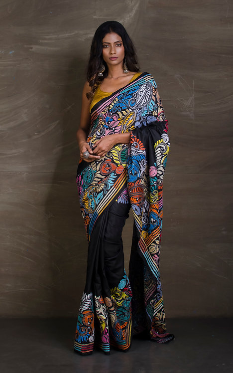 Hand Embroidered Pure Silk Kantha Embroidered Saree in Black