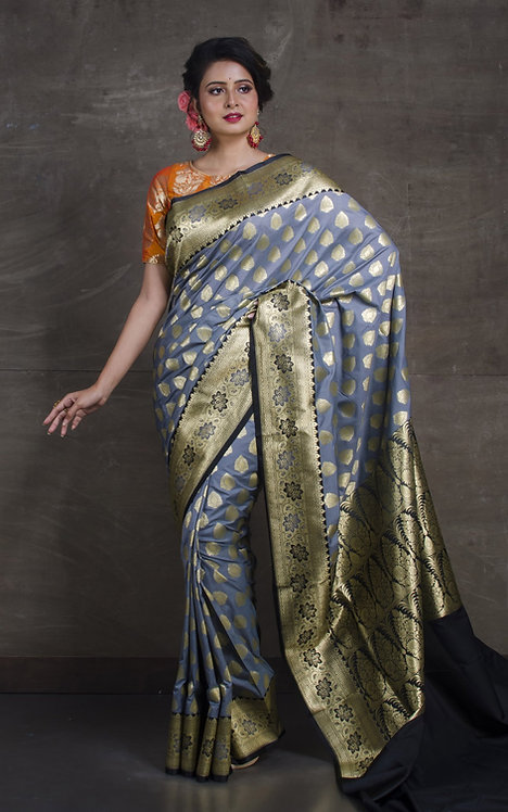 Semi Silk Opara Banarasi Saree in Gray and Black
