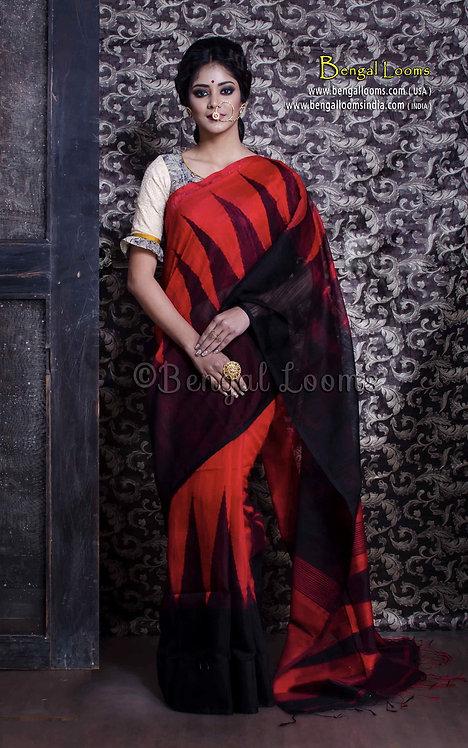Temple Border Matka Cotton Saree in Red and Black