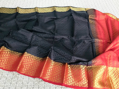 Art Silk Kanchipuram Saree in Black and Red