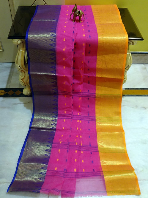 Bengal Handloom Cotton Saree with Starch in Pink, Blue and Yellow