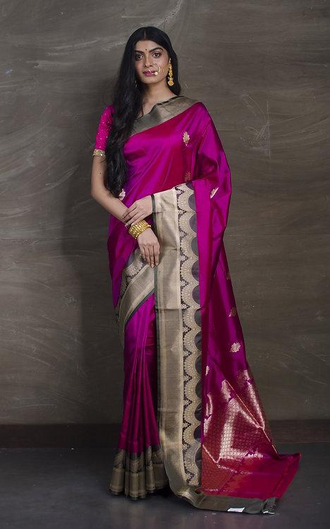 Pure Banarasi Katan Silk Saree in Magenta and Basil Green