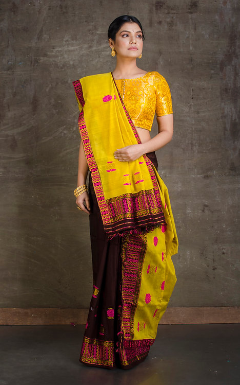 Mekhela Chador in Mustard Yellow