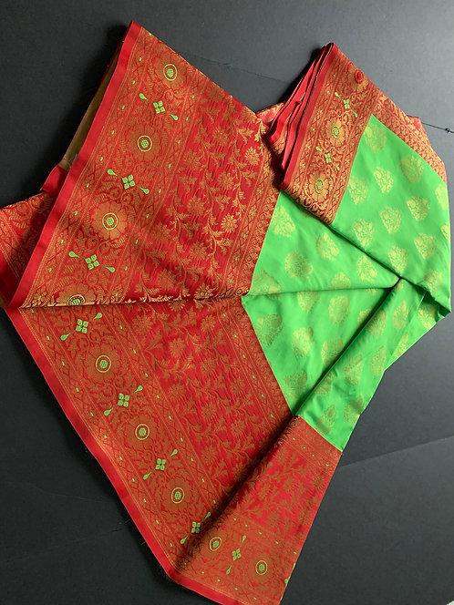 Art Silk Banarasi Saree with Skirt Border in Green, Red and Gold