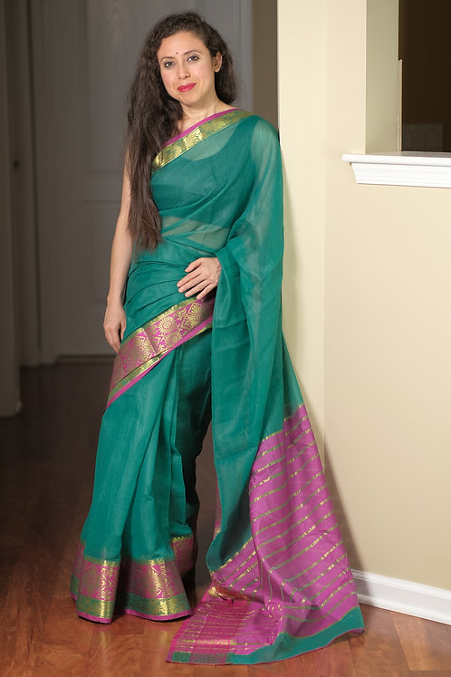 Blended Cotton Banarasi Saree in Rama Green and Magenta
