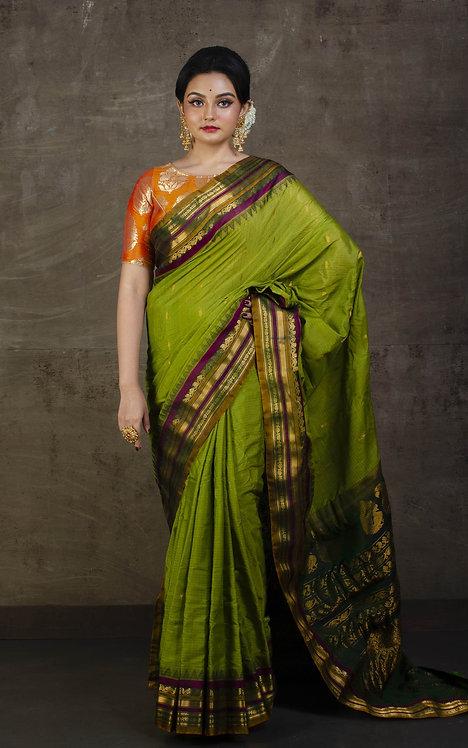 Pure Cotton Silk Handwoven Gadwal Saree in Avocado Green and Purple