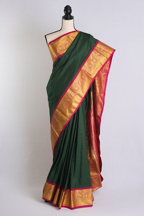 Art Silk Kanjivaram Saree in Dark Green, Hot Pink and Gold