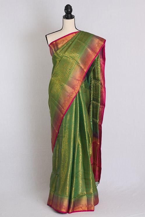 Art Silk Brocade Kanjivaram Saree in Green, Gold and Rani