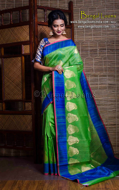 Linen Tussar Banarasi Saree in Green and Blue