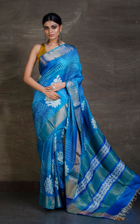 Printed Soft Tussar Saree in Turquoise Blue and Antique Gold