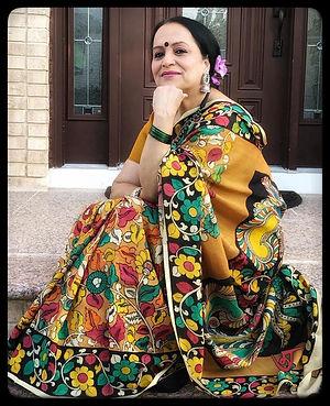 Bengal Looms Diva Yasmin from New York in a Hand Painted Kalamkari Saree On Chennur Silk