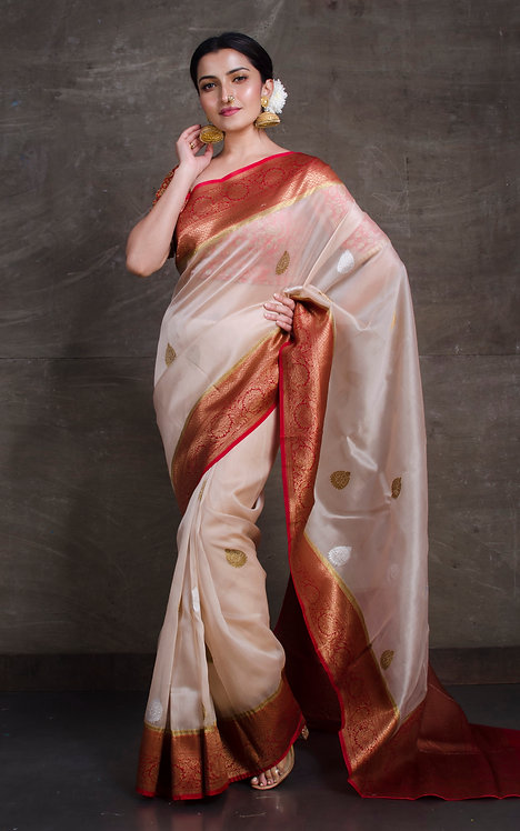 Kora Banarasi Saree in Beige, Maroon and Gold