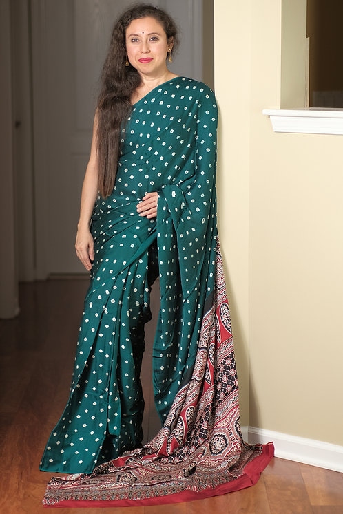 Bandhani with Ajrakh Hand block print with Natural dye on Modal silk in Green