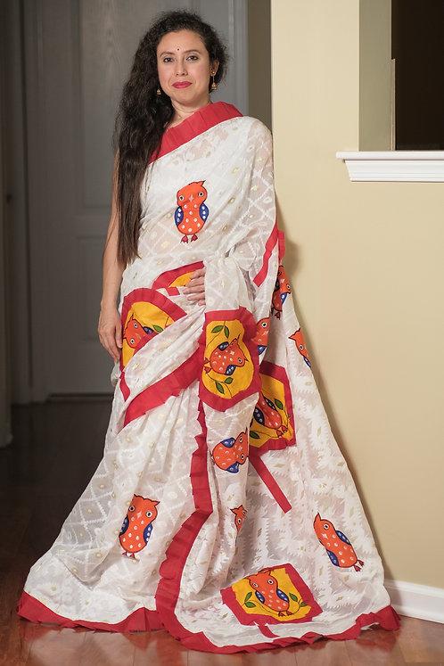 Aplic Work Soft Jamdani Saree in White