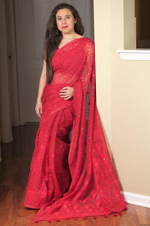 Soft Jamdani Saree in Red