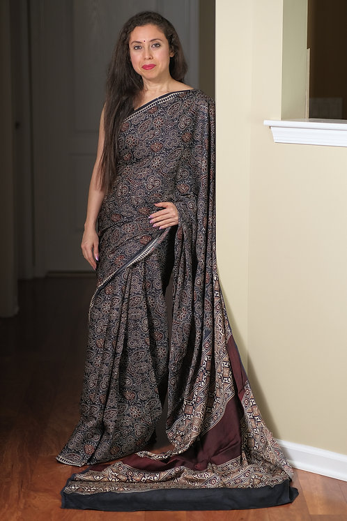 Ajrakh Saree on Pure Modal Silk with Natural Dye in Ash Blue