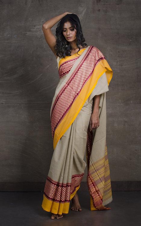 Bengal Handloom Designer Soft Cotton Saree in Beige, Maroon and Yellow