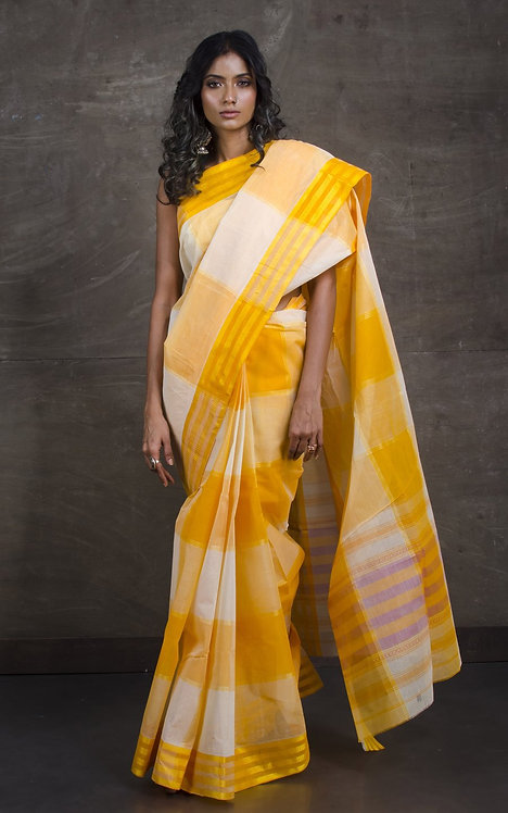 Bengal Handloom Cotton Saree with Starch in Yellow and White