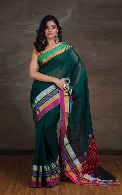 Maheshwari Cotton Silk Saree in Forest Green