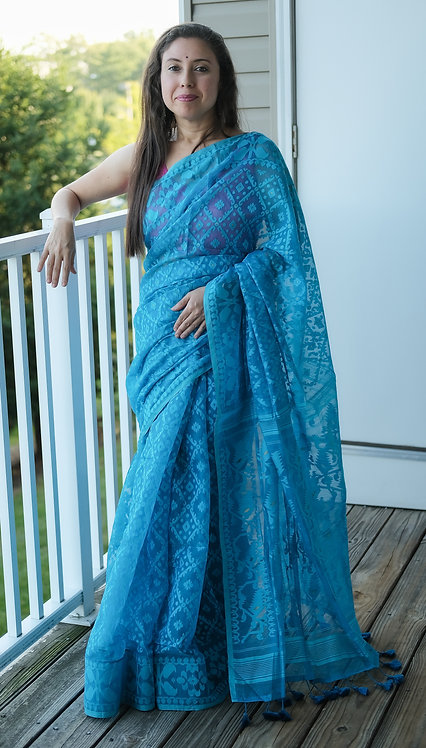 Soft Jamdani Saree in Turquoise
