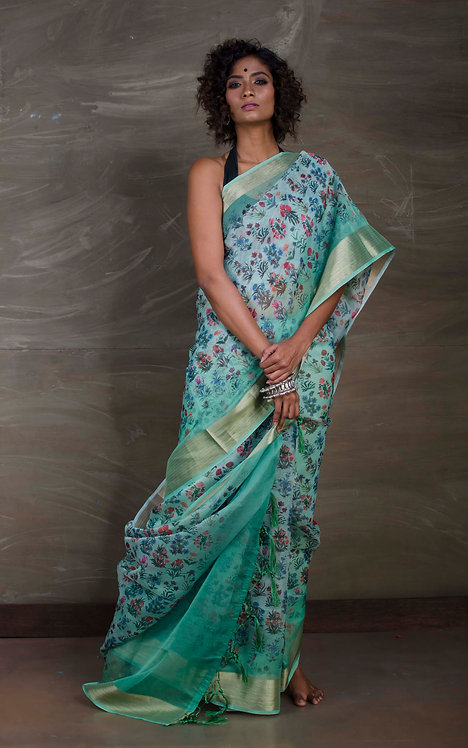 Digital Printed Organza Saree in Sea Green