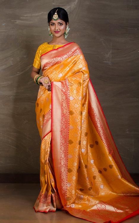 Semi Tussar Brocade Banarasi Saree in Orange and Red