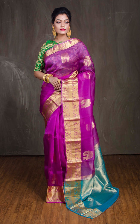 Organza Kanchipuram Saree in Hot Pink and Turquoise