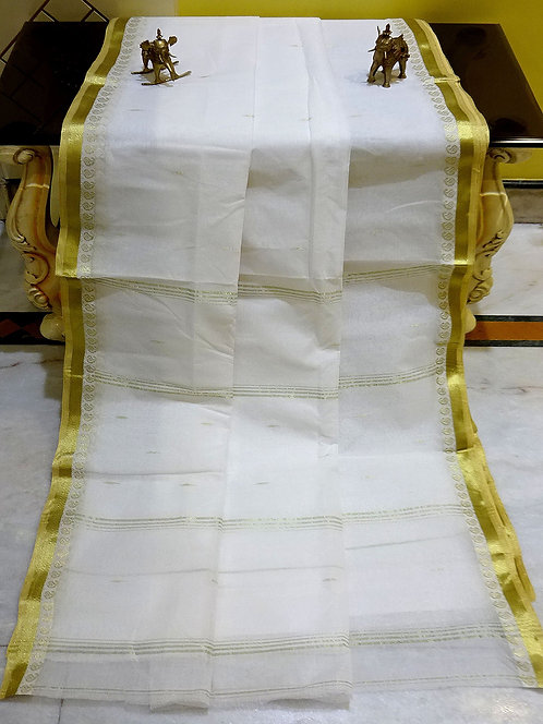 Bengal Handloom Cotton Saree with Starch in White and Gold