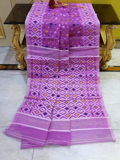 Bengal Jamdani Saree with Starch in Purple