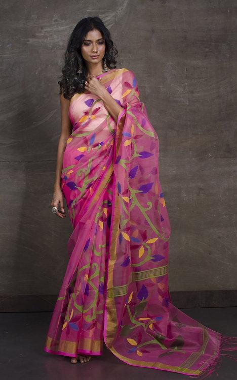 Muslin Jamdani Saree in Pink and Gold