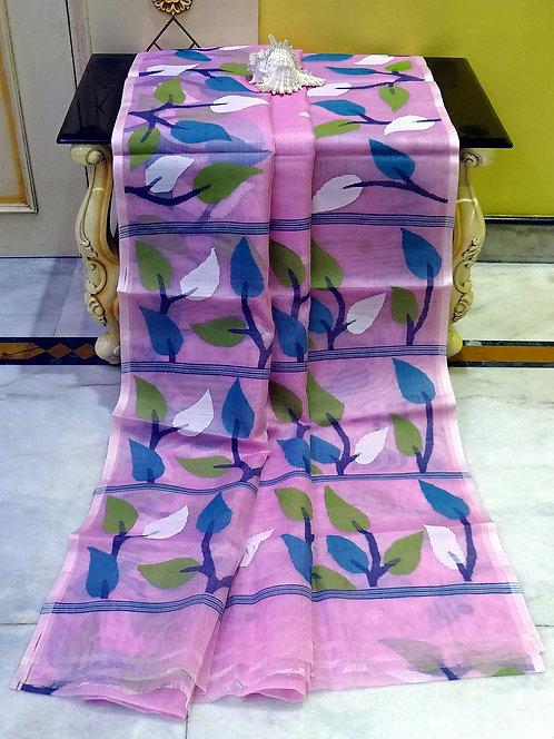 Muslin Jamdani Saree in Pink, Blue and White