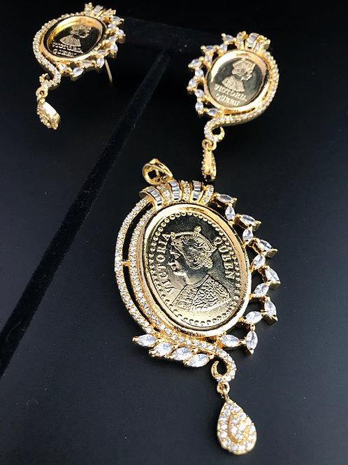 Gold Coin Pendant Set with White Stones