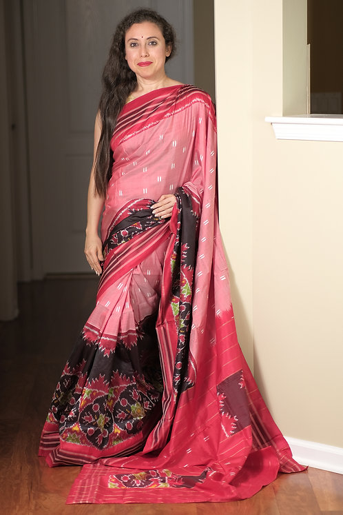 Pochampally Double Ikat Silk Skirt Border Saree in English Pink, Red and Black