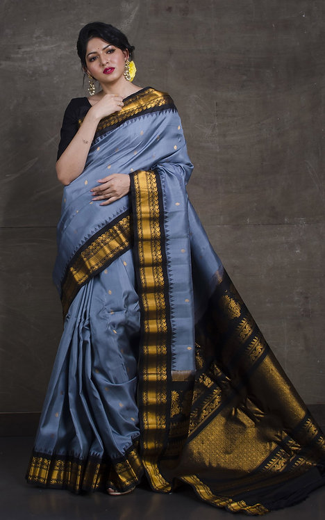 Gadwal Silk Saree in Steel Gray and Black