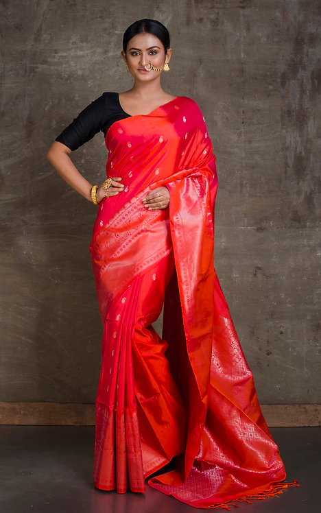 Soft Silk Pure Kanchipuram Saree in Red and Silver