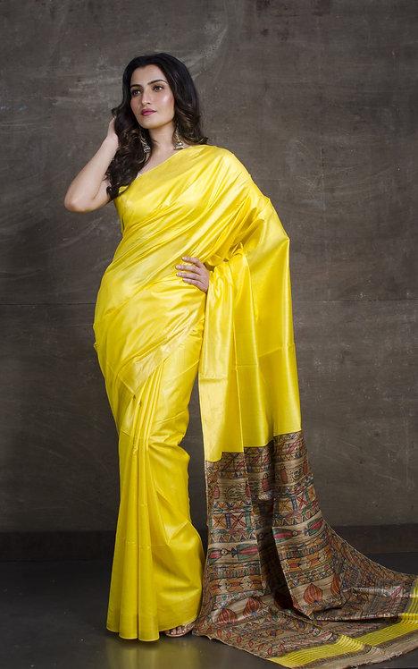 Hand Painted Madhubani Gicha Pallu Staple Tussar Saree in Yellow