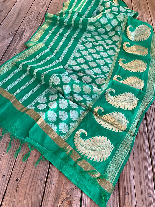 Chanderi Cotton Banarasi Dupatta in Green, Gold and White