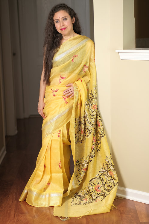 Exclusive Tissue Linen Embroidery Saree in Yellow