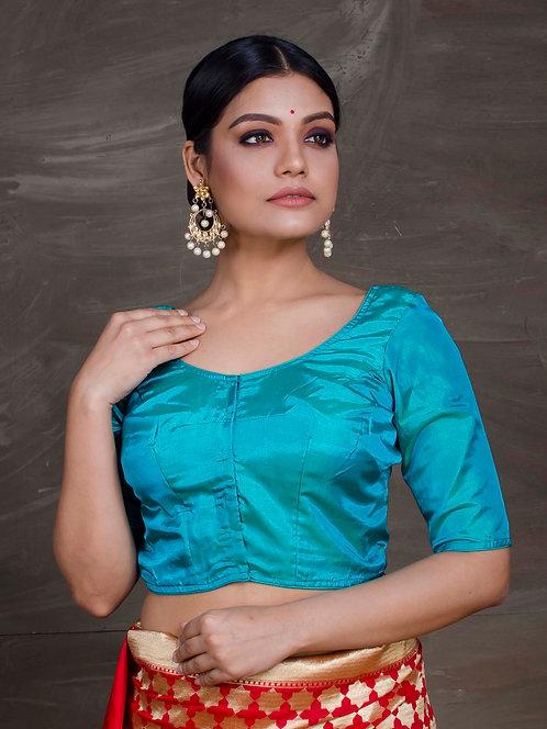 Rama Green Silk Saree Blouse in Size 40