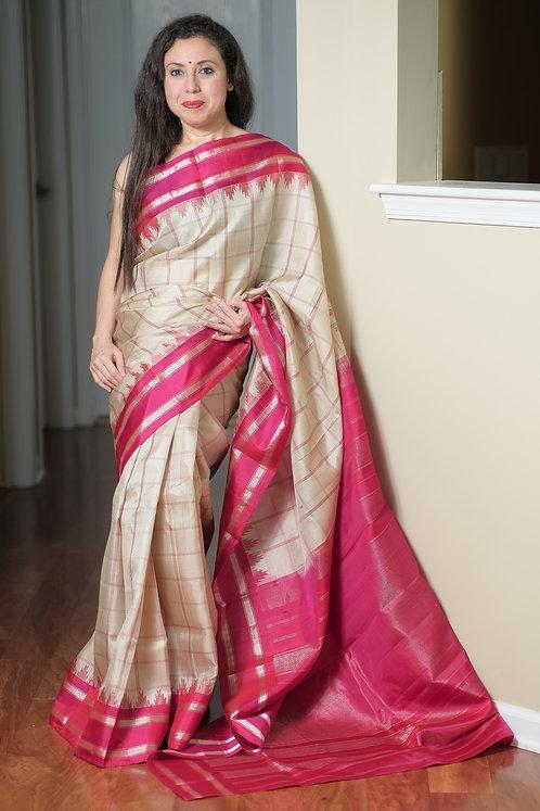 Gadwal Silk Saree with Checks in Cream, Dark Pink and Silver