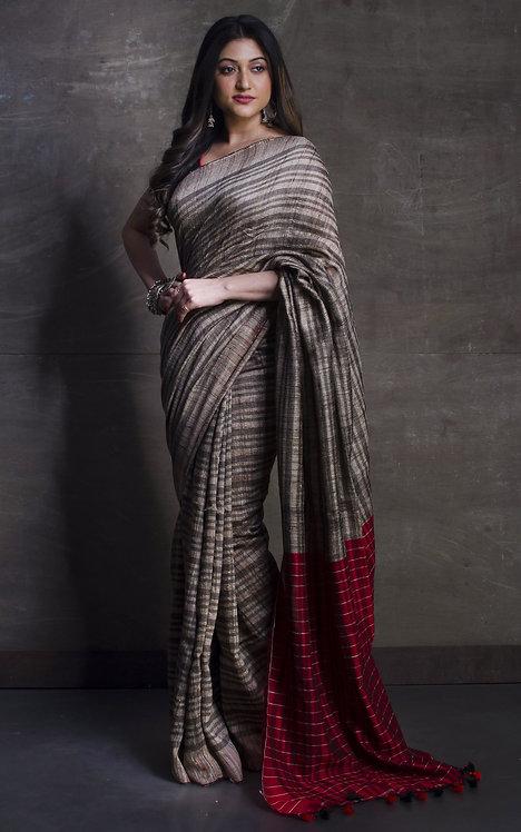 Pure Soft Ketia Tussar Saree in Beige,Black and Dark Red